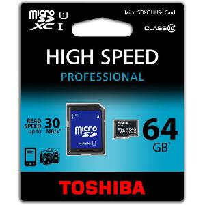 TOSHIBA 64GB MICRO SDXC UHS-I CLASS 10 WITH ADAPTER
